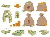 Money symbols vector set.