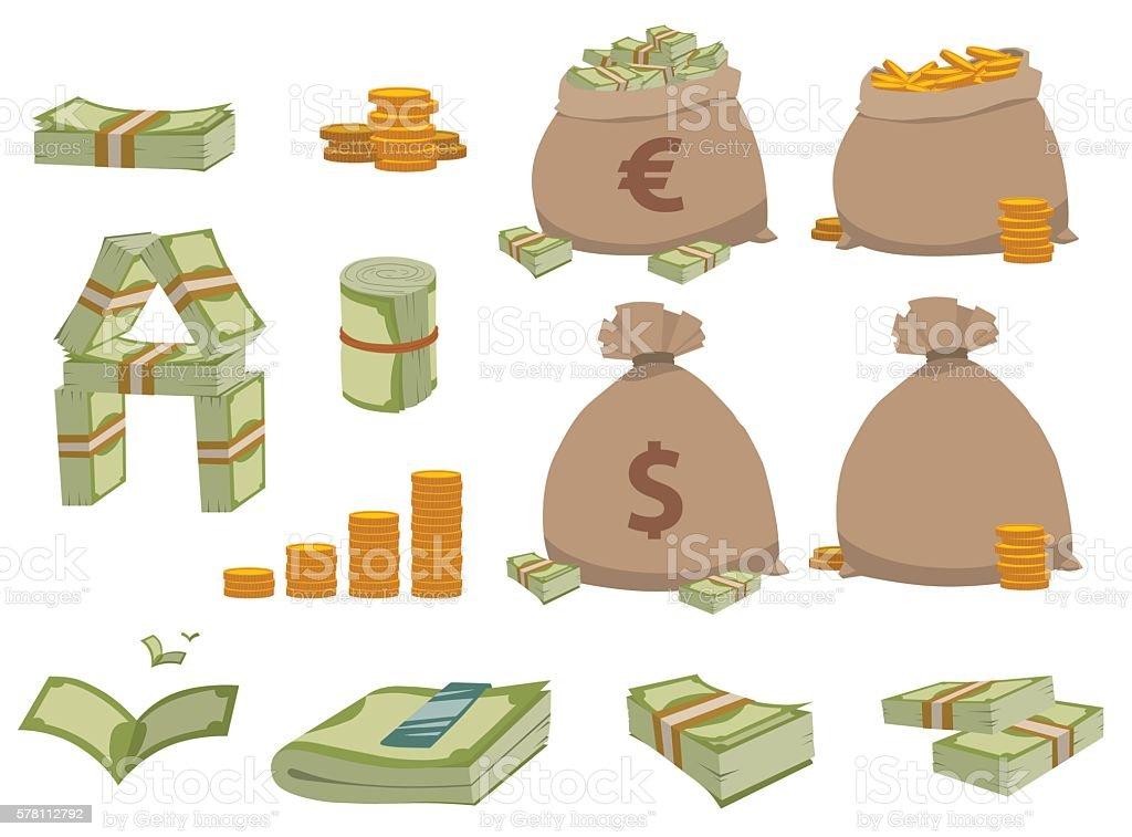 Money symbols vector set. vector art illustration
