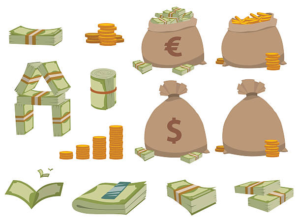 money symbols vector set. - euros cash stock-grafiken, -clipart, -cartoons und -symbole