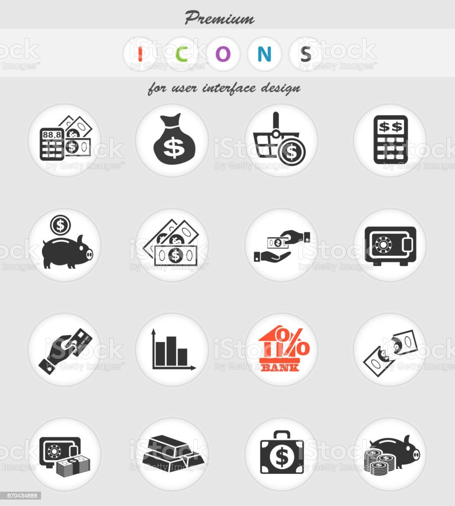 argent symboles icônes web - Illustration vectorielle