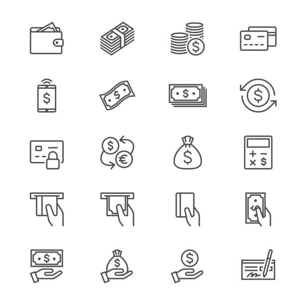 Geld dünne Symbole – Vektorgrafik