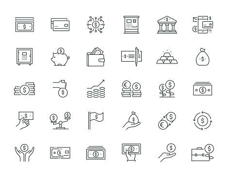 Money Thin Line Icon Set Series