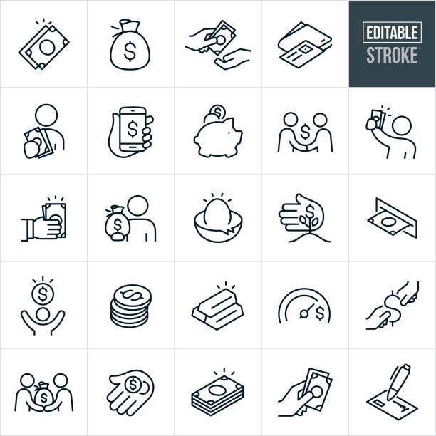 Money Thin Line Icons - Editable Stroke A set money icons that include editable strokes or outlines using the EPS vector file. The icons include cash, dollar bills, money bag, person handing cash to another person, wallet with credit card, person holding out cash, payment via smartphone, piggy bank, handshake, hand holding out cash, person holding bag full of money, nest egg, money growing, ATM, stack of coins, bars of gold, stack of cash, check, person giving another person a bag of money, hand holding coins and other related icons. money stock illustrations