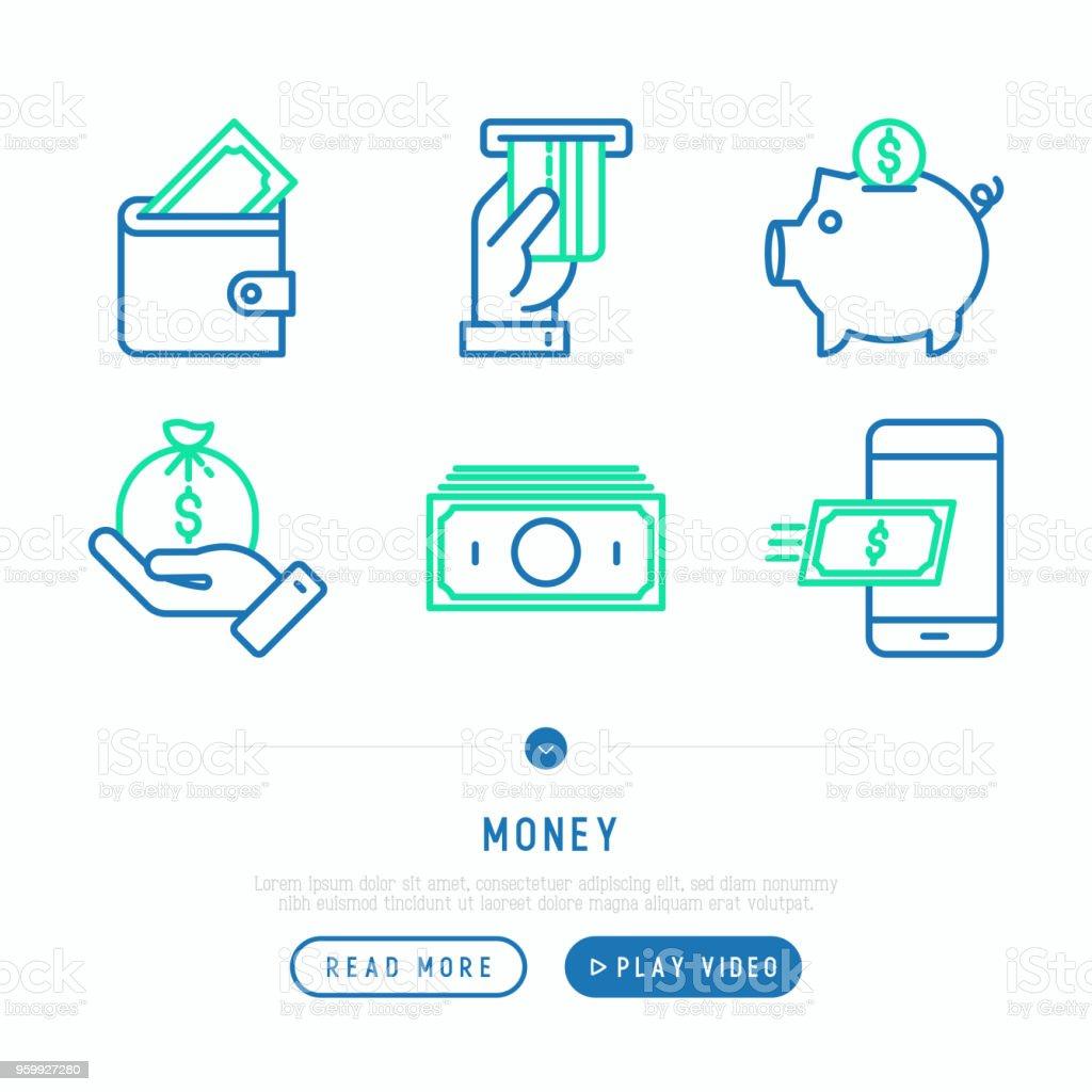 Ilustración de Conjunto De Iconos De Dinero Delgada Línea Efectivo ...