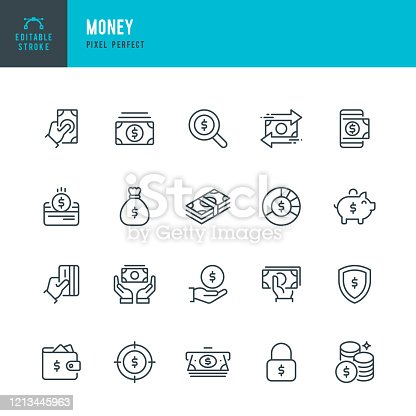 Money - thin line vector icon set. 20 linear icon. Pixel perfect. Editable outline stroke. The set contains icons: Credit Card, Money Bag, Paper Currency, Coins, ATM, Piggy Bank, Cashback.