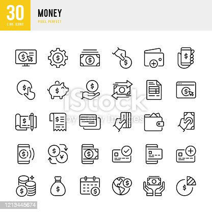 Money - thin line vector icon set. 30 linear icon. Pixel perfect. The set contains icons: Mobile Payment, Contactless Payment, Currency Exchange, Money Bag, Wallet, Piggy Bank.