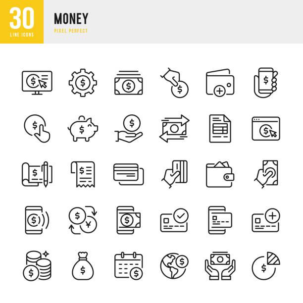 貨幣 - 細線向量圖示集。圖元完美。該套包含圖示: 信用卡, 錢袋, 移動支付, 硬幣, 小豬銀行. - money 幅插畫檔、美工圖案、卡通及圖標