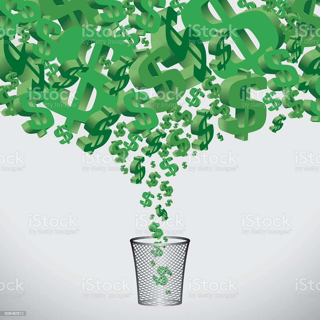 Money to Trash vector art illustration