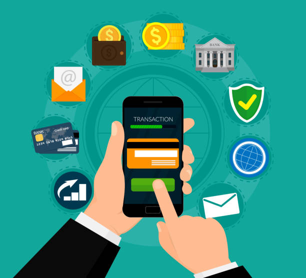 Money transaction, business, mobile banking and mobile payment. E-commerce concept. Vector illustration. Flat design. EPS10. vector art illustration