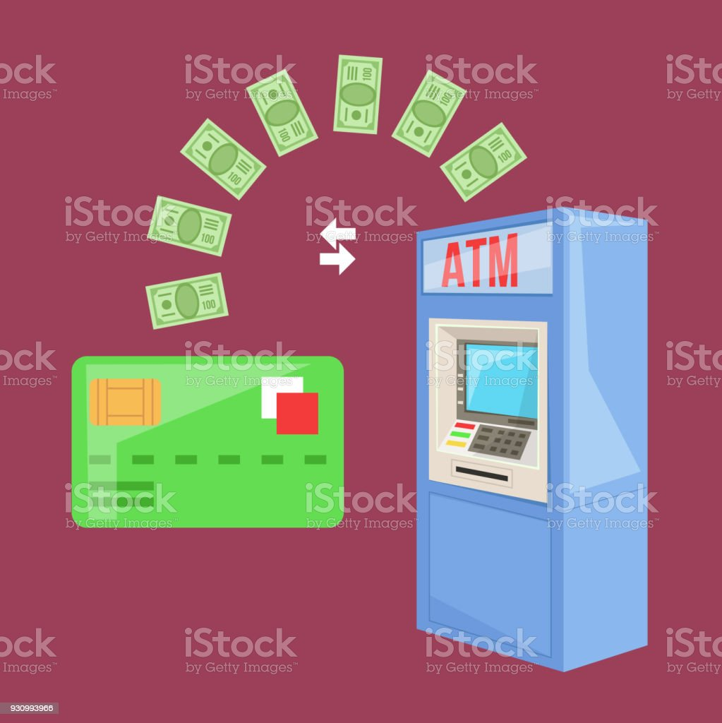 Money transaction from ATM money cash machine to credit card concept vector art illustration