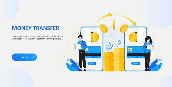 Money transfer and transaction concept. Happy young people sending and receiving cash by using tablet or smartphone online.  Website hero image template, vector illustration