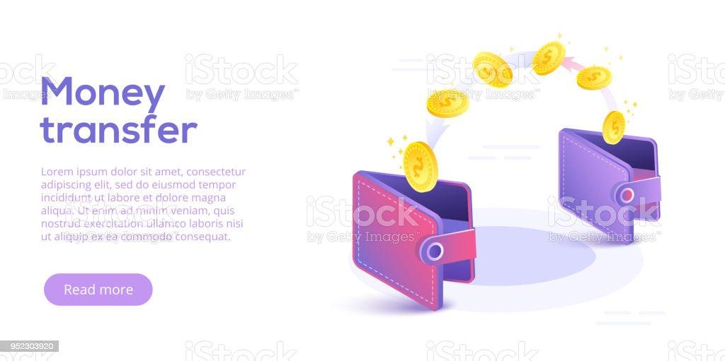 Portemonnee Design.Geld Overmaken Van En Naar De Portemonnee In Isometrische Vector