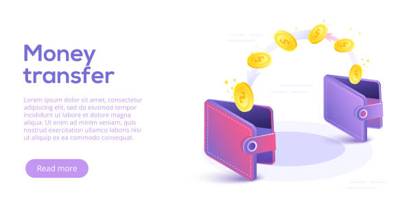 Money transfer from and to wallet in isometric vector design. Capital flow, earning or making money. Financial savings or economy concept. Money transfer from and to wallet in isometric vector design. Capital flow, earning or making money. Financial savings or economy concept. wallet stock illustrations