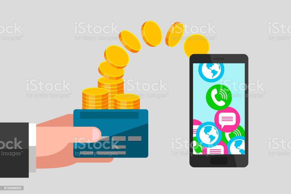 Carte Bancaire Sur Telephone.Virement De Carte Bancaire Au Telephone Vecteurs Libres De Droits Et