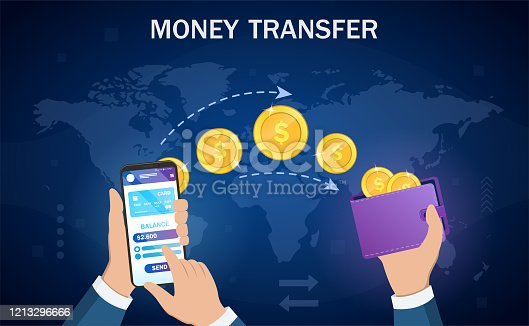 Money transfer from digital wallet to wallet in an online banking transaction showing a smartphone and wallet linked by a stream of gold coins, vector illustration.