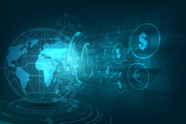 przelew pieniężny. waluta globalna. giełda. ilustracja wektorowa. - globalny stock illustrations