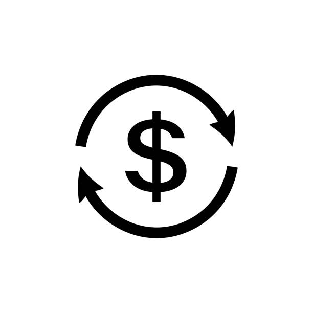 Money transfer Icon. Dollar reload icon Money transfer Icon icon in flat style. Dollar reload icon isolated on white background. Money symbol. Simple abstract exchange icon in black. Vector illustration for graphic design, Web, UI, app fee stock illustrations