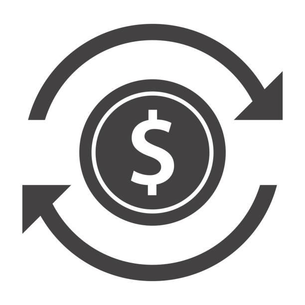 ilustrações, clipart, desenhos animados e ícones de ícone de transferência de dinheiro - símbolo do dólar