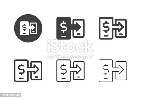 Money Transfer Icons Multi Series Vector EPS File.