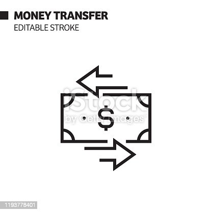 Money Transfer Line Icon, Outline Vector Symbol Illustration. Pixel Perfect, Editable Stroke.