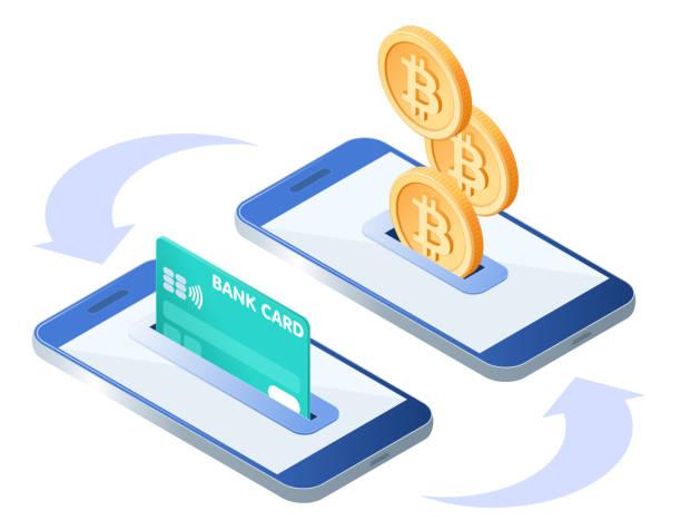 stockillustraties, clipart, cartoons en iconen met proces van de overdracht van geld. isometrische illustratie van telefoons, creditcard, bitcoins. - bitcoin