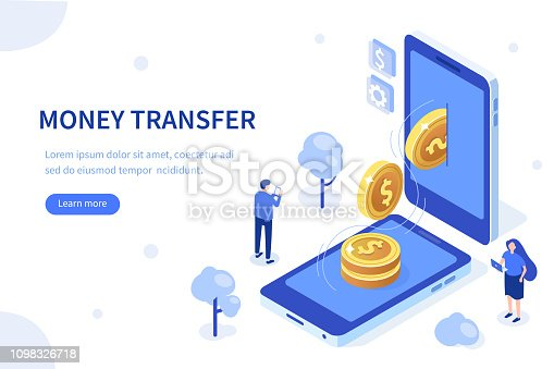 Money transfer concept. Can use for web banner, infographics, hero images. Flat isometric vector illustration isolated on white background.