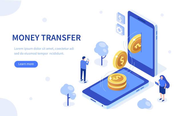 ilustrações de stock, clip art, desenhos animados e ícones de money transfer - ilustrações de bank