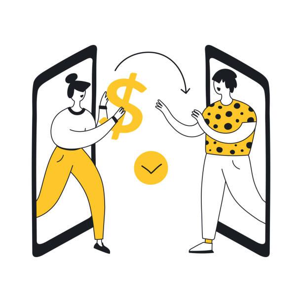 ilustraciones, imágenes clip art, dibujos animados e iconos de stock de transferencia de dinero - gerente de cuentas
