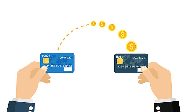 Money transfer Sending and receiving money with a credit card. Vector illustration, flat business concepts style isolated on white background. transfer image stock illustrations