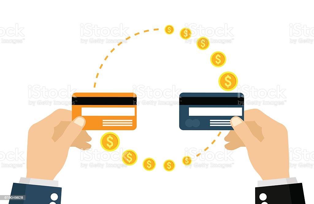 Money transfer vector art illustration