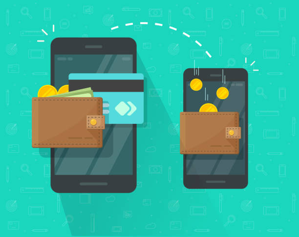 Money transfer via mobile phone vector illustration, flat cartoon smartphones with cash wallets, coins and credit cards transferring money wireless, cellphone transaction Money transfer via mobile phone vector illustration, flat cartoon smartphones with cash wallets, coins and credit cards transferring money wireless, cellphone transaction wallet stock illustrations