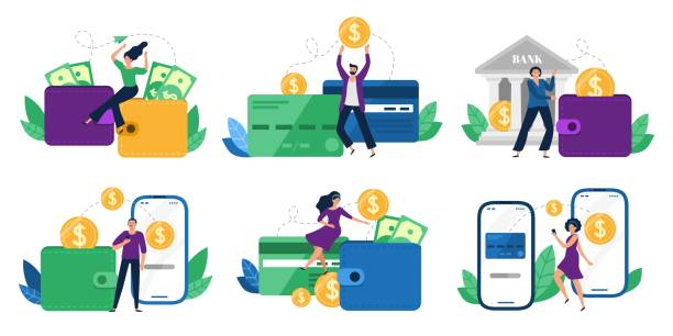 Money transfers. People sent money from wallet to bank card, mobile payments and financial transactions vector illustration set Money transfers. People sent money from wallet to bank card, mobile payments and financial transactions. Work transfer credit card process payment. Flat isolated vector illustration icons set tandvård stock illustrations