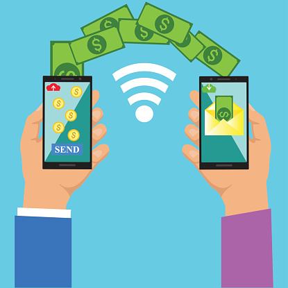 Money transfer.Sending and receiving money wireless with mobile phones.
