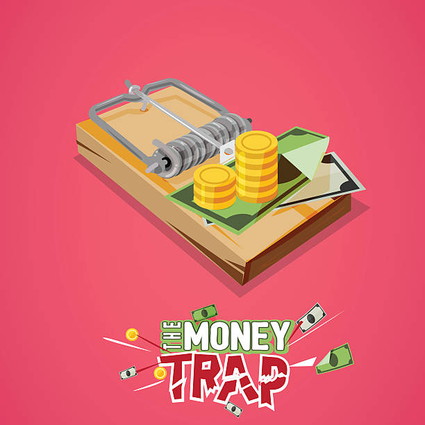 money trap. Business trap concept with typographic vector art illustration