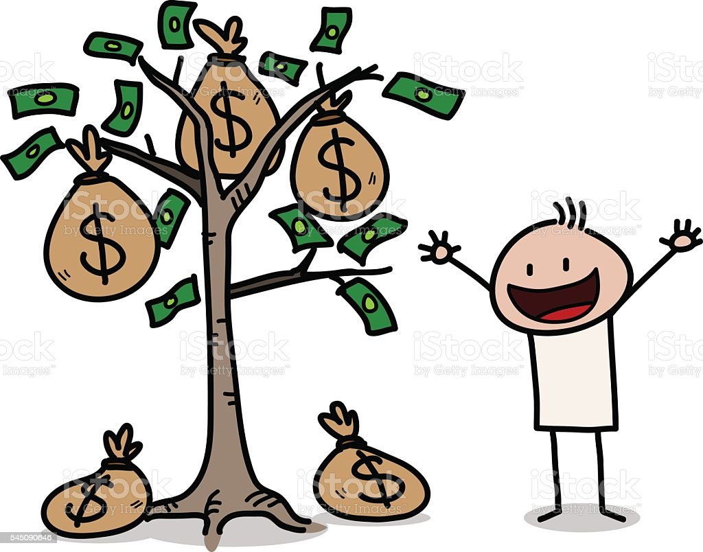 royalty free drawing of a money tree clip art vector