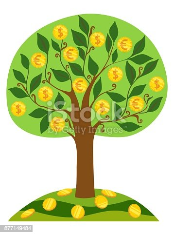 Vector image of gold coins with dollar sign and euro on a green tree on a white background. The symbol of money prosperity and financial success. Money Tree.