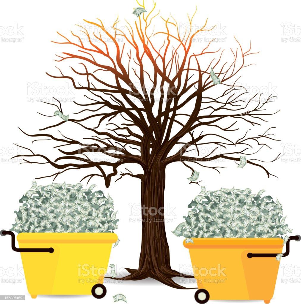 Money Tree in Dept vector art illustration
