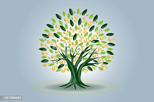 Money tree symbol of prosperity and lucky vector image icon graphic design template background