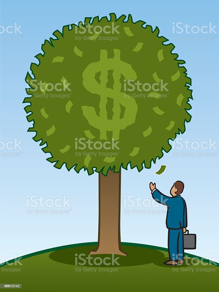 Money Tree With Businessman - Royalty-free Abundance stock vector