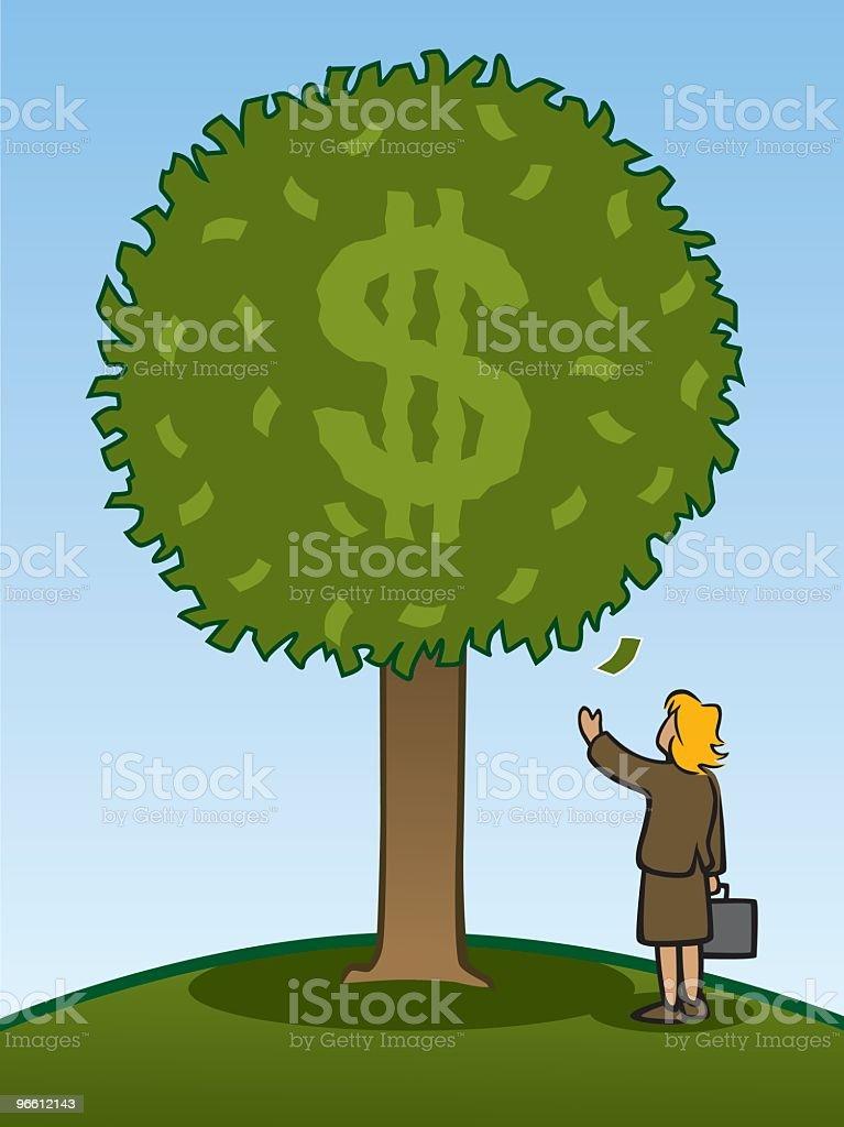 Money Tree With Businesswoman - Royalty-free Abundance stock vector