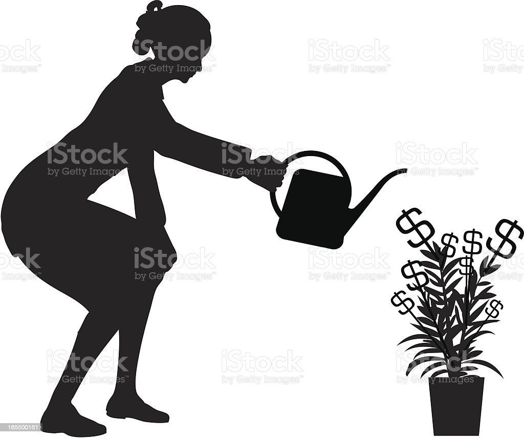 Money Tree Woman royalty-free stock vector art