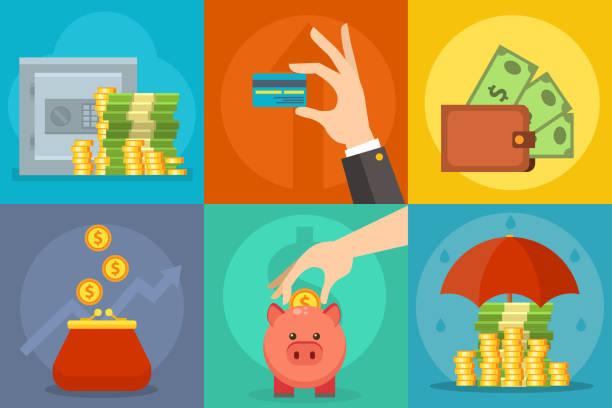 お金ベクトル商業グループ支払い投資バッグ グラフィック金融 safepay 獲得現金・財布 - 財布点のイラスト素材/クリップアート素材/マンガ素材/アイコン素材