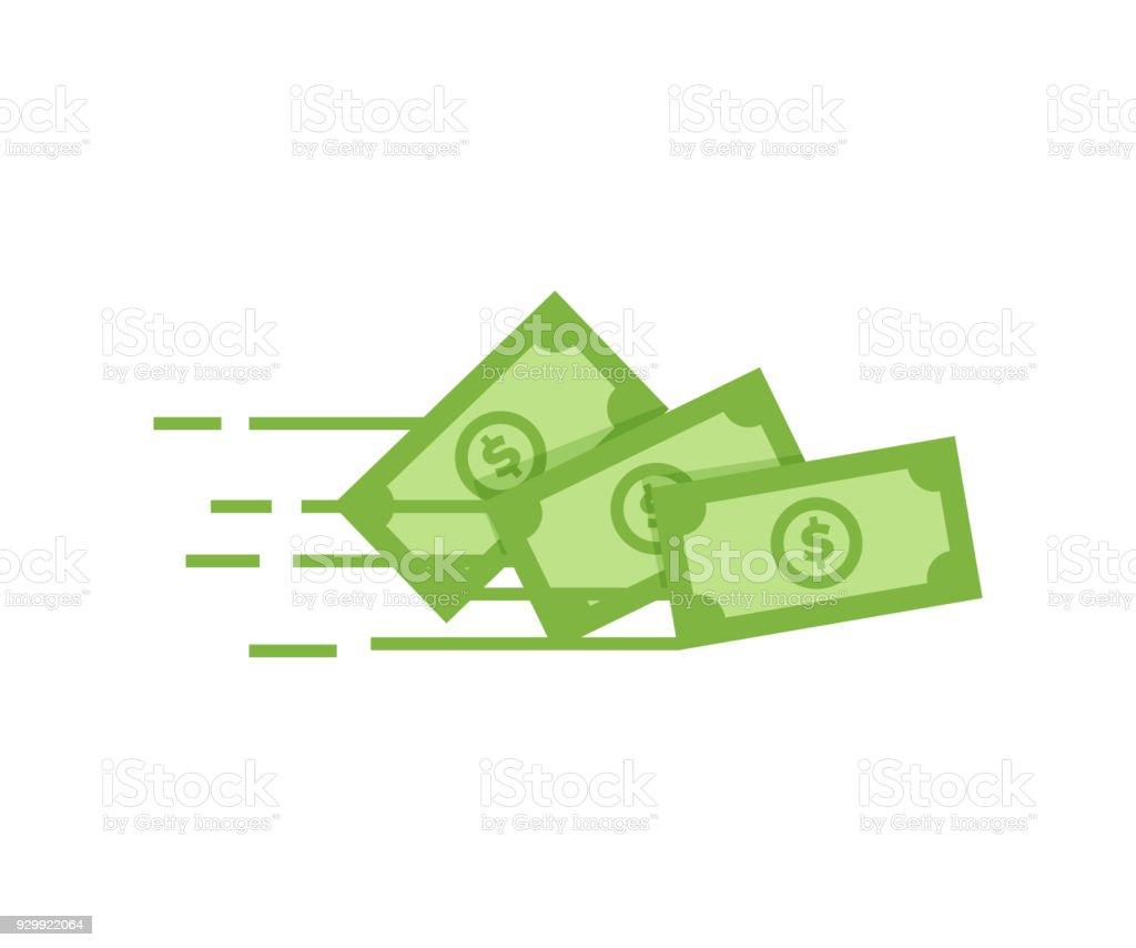 Icône de l'argent de vecteur. Billet de banque billet d'un Dollar vole de l'expéditeur vers le récepteur. Illustration de l'argent, richesse, investissement et financement des concepts de conception - Illustration vectorielle