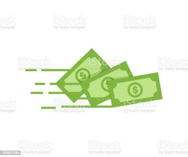 Money Vector Icon Bank Note Dollar Bill Flying From Sender To Receiver Design Illustration For Money Wealth Investment And Finance Concepts Stock Illustration - Download Image Now
