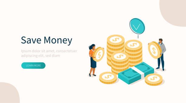 ilustrações de stock, clip art, desenhos animados e ícones de money - save money