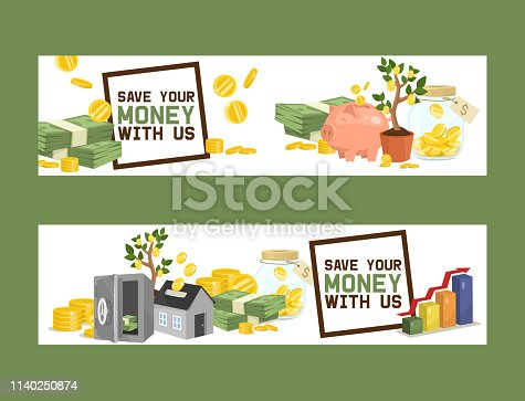 Money vector piggy bank pig box financial bank or money-box with investment savings and coins set of backdrop illustration piggybank moneybox with cash background banner.