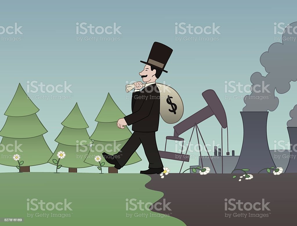 Money versus nature vector art illustration