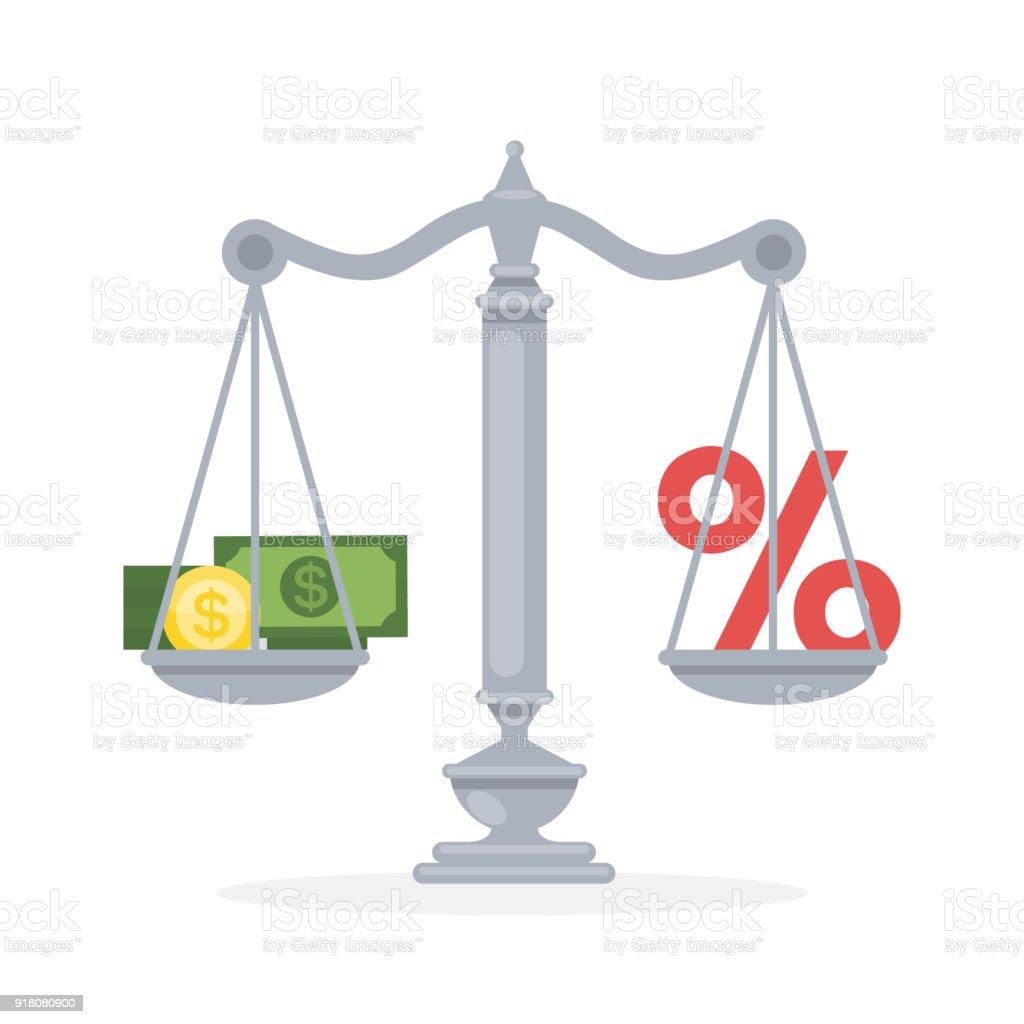 Pour cent contre de l'argent. - Illustration vectorielle