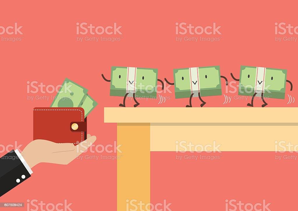Money walking into a wallet vector art illustration