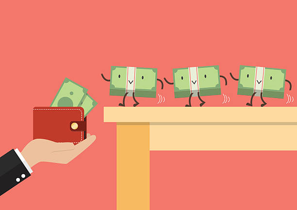 Money walking into a wallet Money walking into a wallet. Business concept wallet stock illustrations